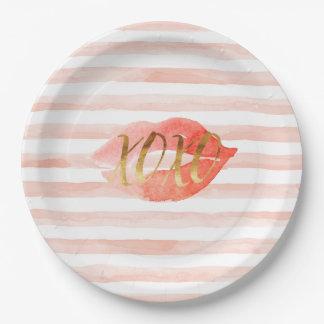 Prato De Papel Cora o beijo cor-de-rosa da aguarela do ouro XOXO