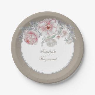 Prato De Papel Cora o vintage cor-de-rosa e branco das flores da