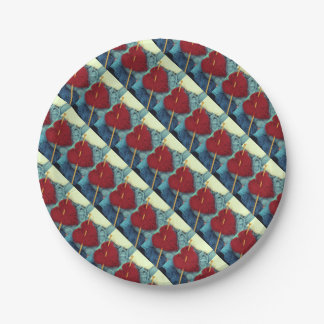 Prato De Papel coração bonito de lãs com a fotografia da agulha