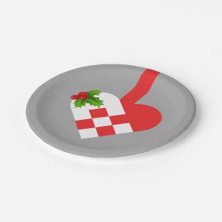 Prato De Papel Coração bonito do Natal placa de papel de 7