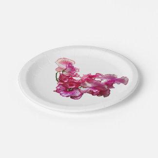 Prato De Papel Coração cor-de-rosa da ervilha doce