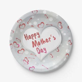 Prato De Papel Coração de papel dobrado dia das mães - placa de