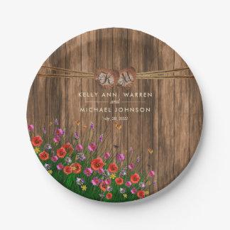 Prato De Papel Coração do monograma com Wildflowers do primavera