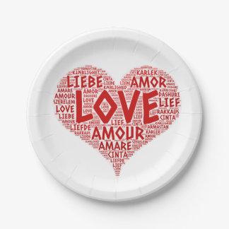 Prato De Papel Coração ilustrado com palavra do amor
