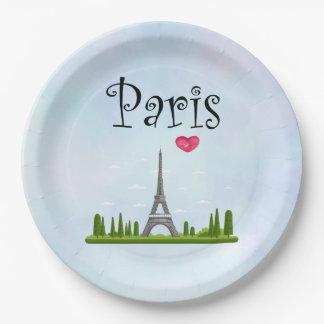 Prato De Papel Coração Paris com torre Eiffel