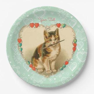 Prato De Papel Corações dos namorados do gatinho da chita
