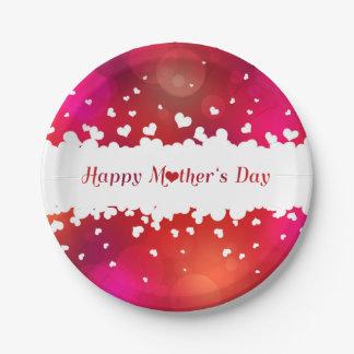 Prato De Papel Corações felizes bonitos do dia das mães - placa