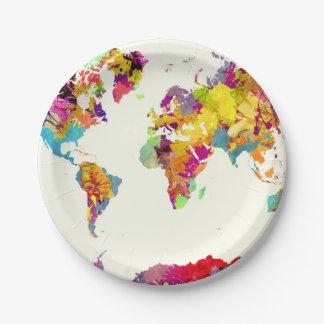 Prato De Papel cores do mapa do mundo