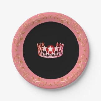 """Prato De Papel Coroa 7"""" do Cor-de-rosa-Coral da senhorita EUA"""