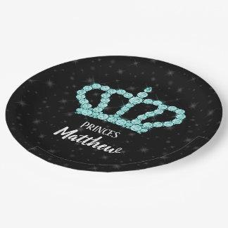 Prato De Papel Coroa Sparkling do diamante - escolha seu fundo