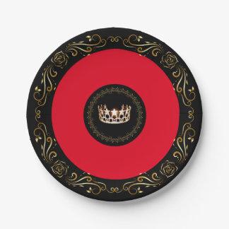 """Prato De Papel Coroa vermelha 7"""" do ouro da senhorita EUA placas"""