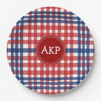 Prato De Papel Costume branco e azul vermelho patriótico da
