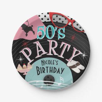 Prato De Papel costume gravado os anos 50 da festa de aniversário