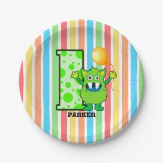 Prato De Papel Costume verde do monstro do primeiro aniversario