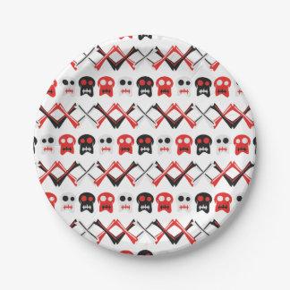 Prato De Papel Crânio cómico com teste padrão colorido cruzado