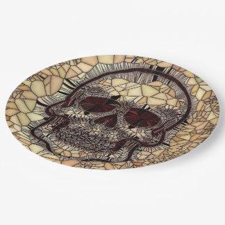 Prato De Papel Crânio de vidro do mosaico, bege