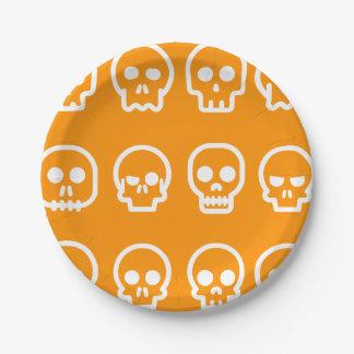 Prato De Papel Crânios do Dia das Bruxas engraçado