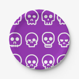 Prato De Papel Crânios do Dia das Bruxas engraçado roxos