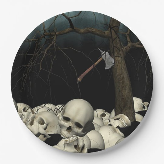 Prato De Papel Crânios e machado