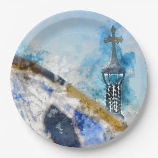 Prato De Papel Cruz religiosa na espanha de Barcelona