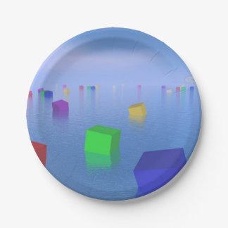 Prato De Papel Cubos coloridos que flutuam - 3D rendem