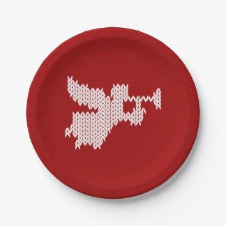 Prato De Papel Da camisola feia do Natal do anjo vermelho de