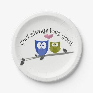 Prato De Papel Da coruja amor sempre você, placa de papel bonito