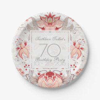 Prato De Papel Da festa de aniversário floral do 70 do damasco