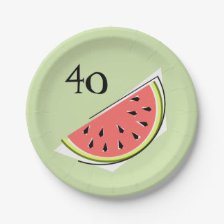 Prato De Papel Da idade verde da fatia 40 da melancia placas de