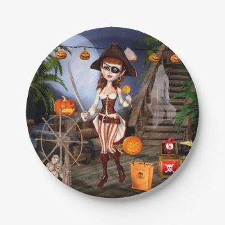 Prato De Papel Da menina bonito do pirata do Dia das Bruxas