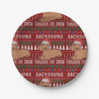Prato De Papel Dachshund através da camisola feia do Natal da
