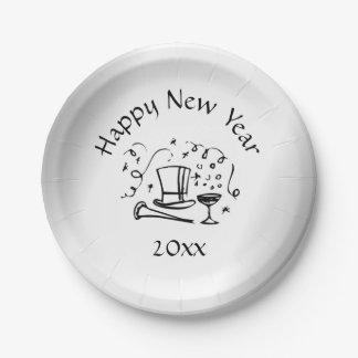 Prato De Papel Datado de prata da véspera de ano novo