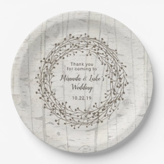 Prato De Papel Decoração do casamento de Birchwood, grinalda