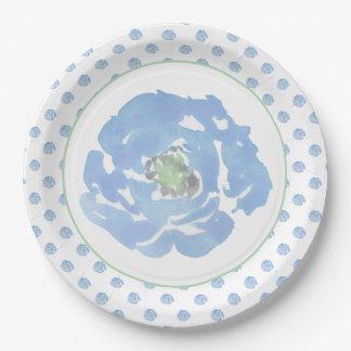 Prato De Papel Decorativo floral da aguarela azul