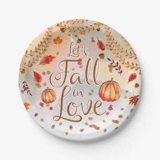 Prato De Papel Deixe-nos cair nas folhas de outono do chá de