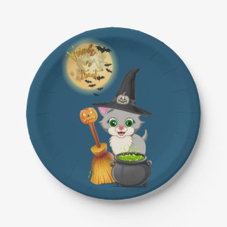 Prato De Papel Desenhos animados cinzentos do Dia das Bruxas do