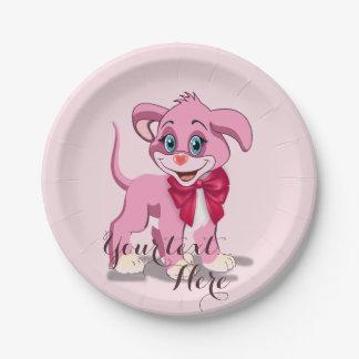 Prato De Papel Desenhos animados do filhote de cachorro do rosa