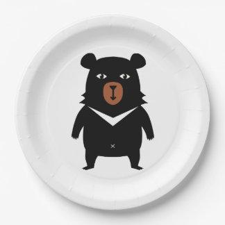 Prato De Papel Desenhos animados do urso preto