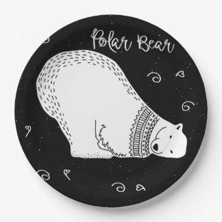 Prato De Papel Design bonito do urso polar em preto e branco