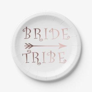 Prato De Papel design cor-de-rosa do tribo da noiva da folha de