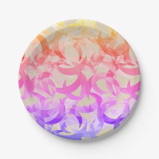Prato De Papel Design crescente colorido da lua nas placas de