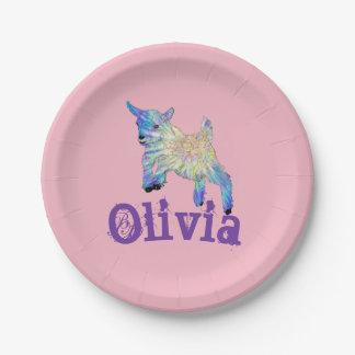 Prato De Papel Design de salto da cabra colorida do bebê com seu