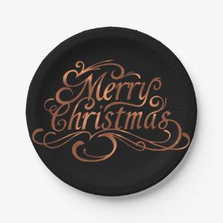 Prato De Papel design do roteiro do Feliz Natal do Cobre-olhar