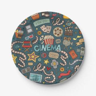 Prato De Papel Design do teatro do cinema do fã de filme