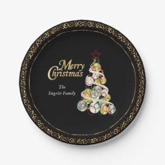 Prato De Papel Design elegante da árvore de Natal