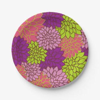 Prato De Papel Design floral corajoso no verde limão, rosa, roxo