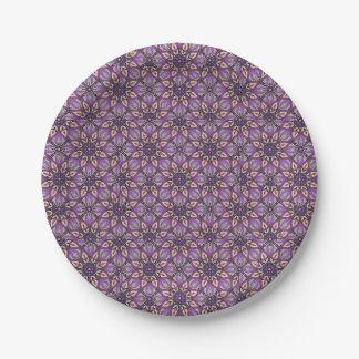 Prato De Papel Design floral do teste padrão do abstrato da