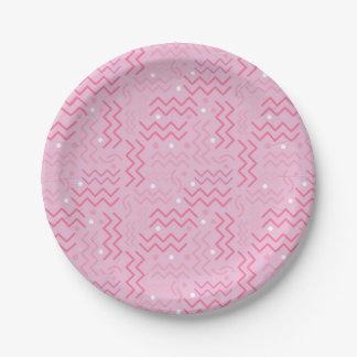 Prato De Papel Design Funky de Memphis do rosa Pastel
