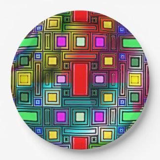 Prato De Papel Design geométrico colorido e legal nas placas de