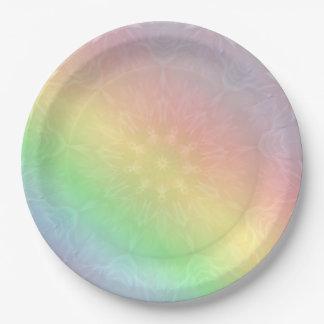 Prato De Papel Design Pastel da mandala do arco-íris